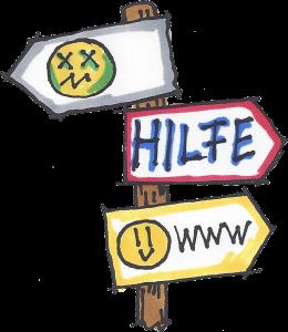 Symbolbild: Wegweiser auf Hilfeseiten im Internet